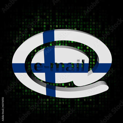 e-mail address AT symbol with Finland flag on hex illustration