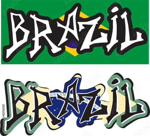Brazil word graffiti different style. Vector
