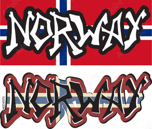 Norway word graffiti different style. Vector
