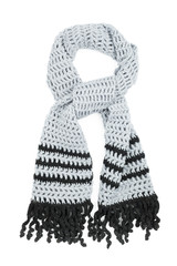 The scarf grey, knitted by a hook from woolen filaments