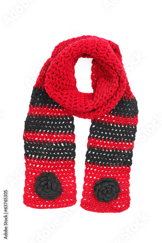 Scarf red knitted with the colors bound by a hook