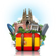canvas print picture - Spain, landmarks Madrid and Barcelona, travel suitcase