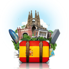 Spain, landmarks Madrid and Barcelona, travel suitcase