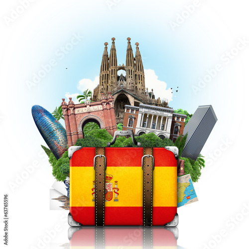 canvas print picture Spain, landmarks Madrid and Barcelona, travel suitcase
