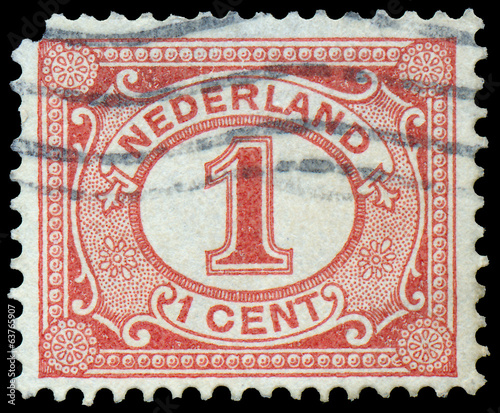 Netherlands Stamp Numeral 1 Cent