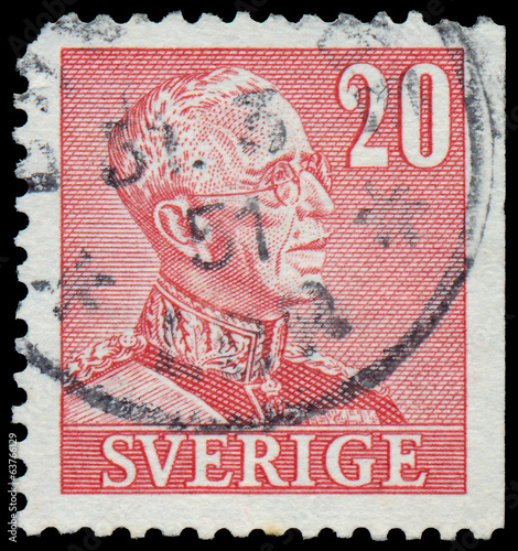 Stamp printed in Sweden, shows portrait of king Gustaf V