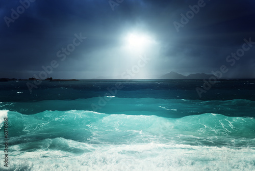 dark sky and sea of la Digue island, Seychelles
