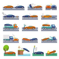 Car crash icons