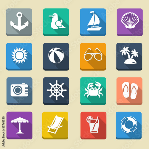 Summer Sea Vacation Icons