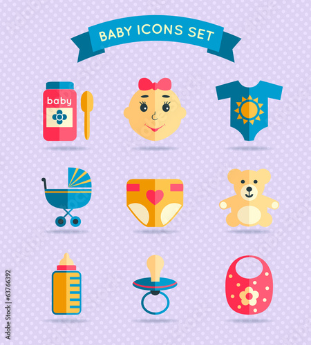 Baby child icons set