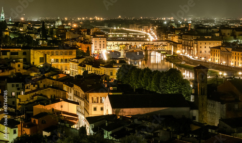 Ponte Vecchio night view over Arno river, Florence