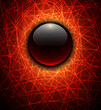 Abstract background glossy sphere on fiery lines texture