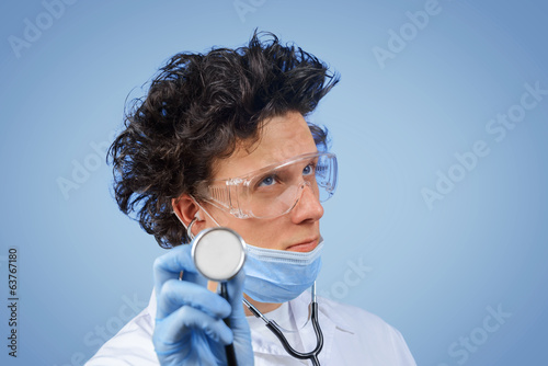Bizarre doctor listens with stethoscope
