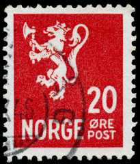 Stamp printed in Norway, shows Norway Coat of Arms