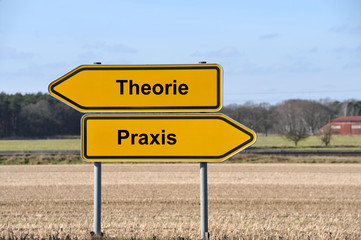 Theorie, Praxis, denken, handeln, Gegensatz, Schild