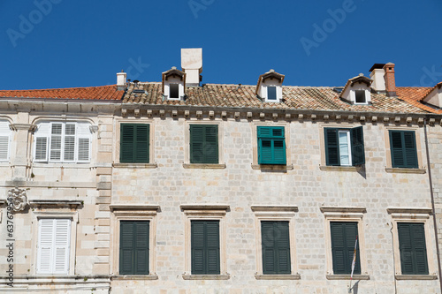 Old Croatian Building with Green Shutters