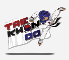 Taekwondo sparring. Martial art