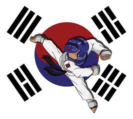 Taekwondo sparring. Martial art