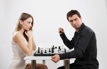 Competition between man and woman, concept