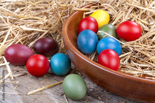 Colourful Easter eggs in a wooden bowl and in the straw
