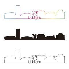 Ljubljana skyline linear style with rainbow