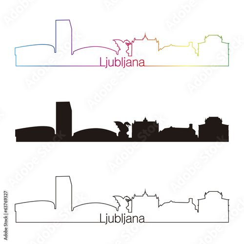 Ljubljana skyline linear style with rainbow