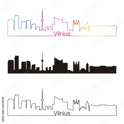 Vilnius skyline linear style with rainbow