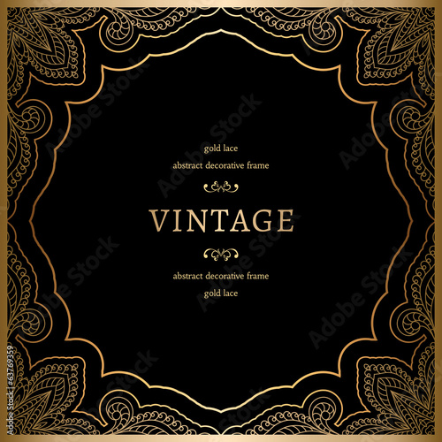 Vintage gold background, decorative lacy frame