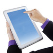 Businessman touching blue screen digital tablet