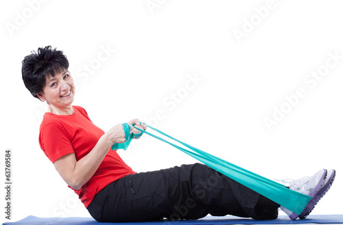 Woman with stretching ropes