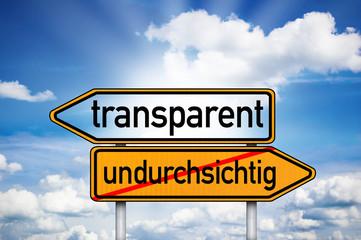 Wegweiser mit transparent und undurchsichtig