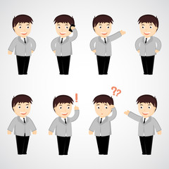 set of funny cartoon office worker in various poses for use in