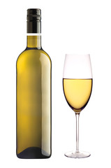 White wine glass and bottle of wine isolated on white