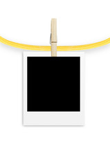 photo frame with clothespin isolated on white background