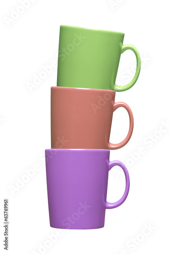 Colorful coffee mugs on white background