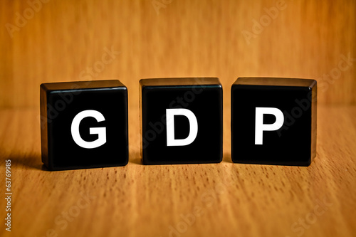 gross domestic product or GDP word on black block