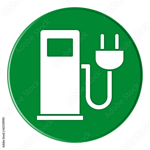 canvas print picture Button - Charging Station - Ladestation - green - g817