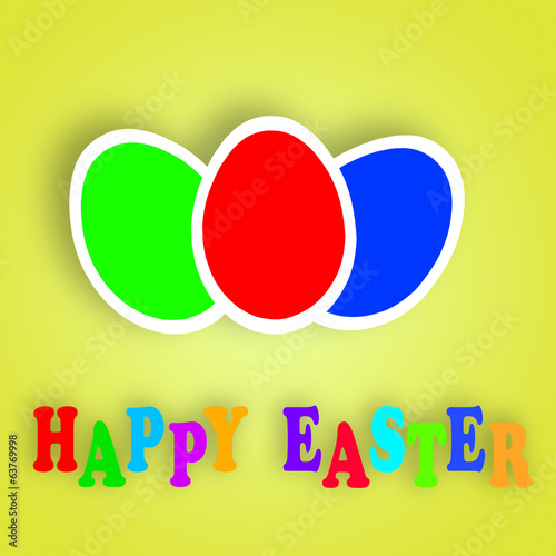 Colorful Easter eggs greeting card over green background