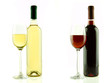 Bottle and glass of white and red wine isolated