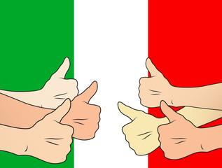pollici alti per l'Italia