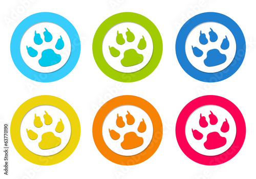 Set of colorful rounded icons with pet footprints symbol