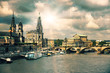 Panorama of Dresden Old Town, tinted image