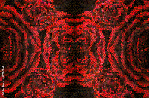 the pattern of red flowers, stained glass, mosaic