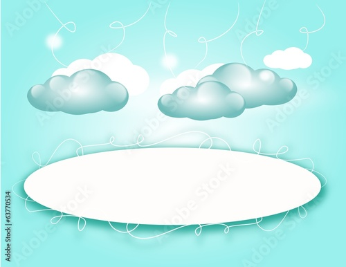 Light blue background with clouds