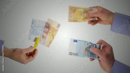 hands and banknotes