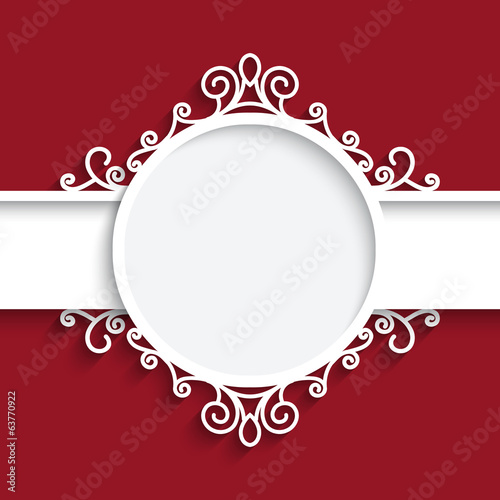 Cutout paper frame with shadow on red