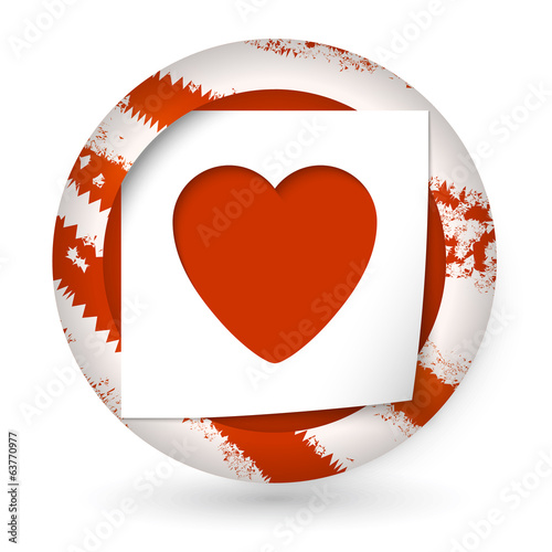 red abstract icon with paper and heart