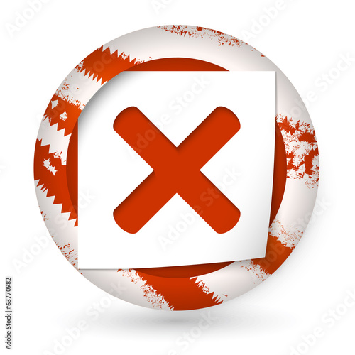 red abstract icon with paper and ban sign