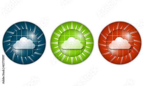 set of three colored icons with cloud