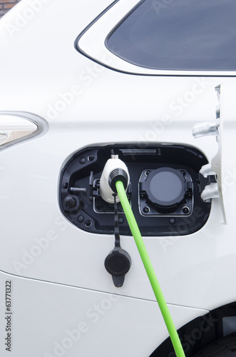 Electric white car charging battery